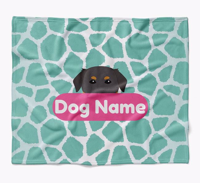 Personalized Giraffe Print Blanket with Golden Labrador Icon