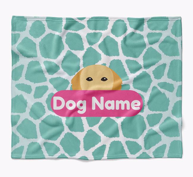 Personalized Giraffe Print Blanket with Golden Retriever Icon
