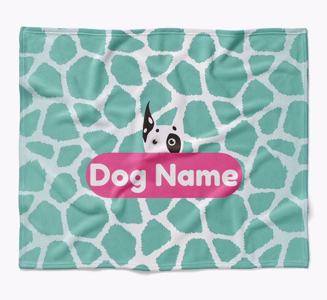 Personalized Giraffe Print Blanket with Great Dane Icon