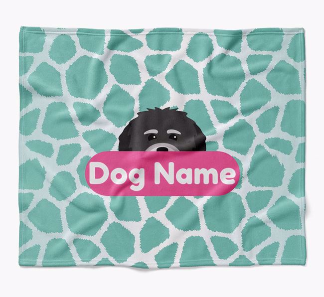 Personalized Giraffe Print Blanket with Havanese Icon