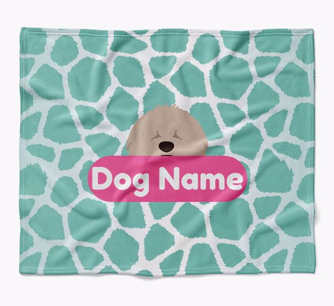 Personalized Giraffe Print Blanket with Hungarian Puli Icon