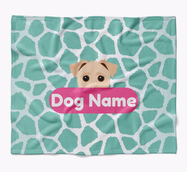 Personalized Giraffe Print Blanket with Jack-A-Poo Icon