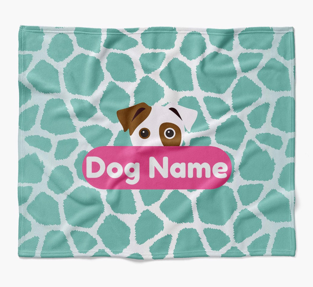 Personalized Giraffe Print Blanket with Dog Icon in {colour} flat