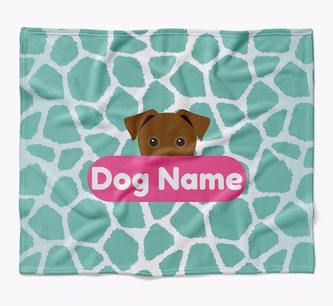 Personalized Giraffe Print Blanket with Jack Russell Terrier Icon