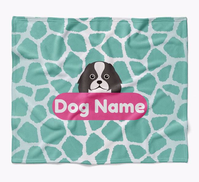 Personalized Giraffe Print Blanket with Japanese Chin Icon