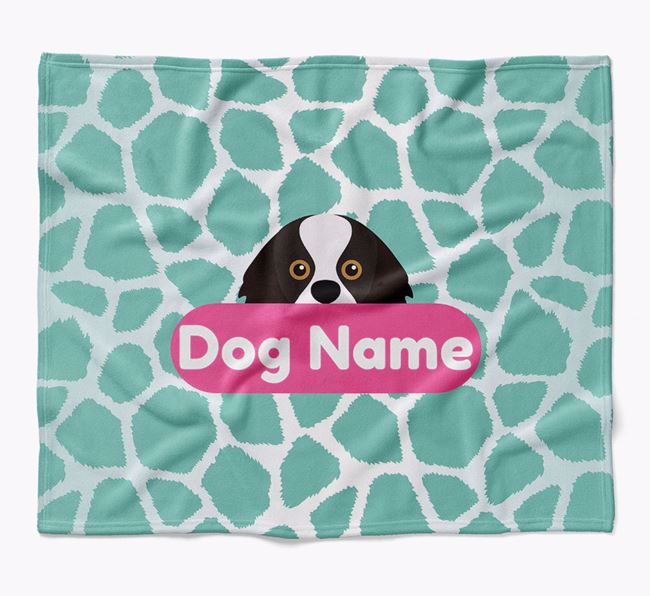 Personalized Giraffe Print Blanket with King Charles Spaniel Icon
