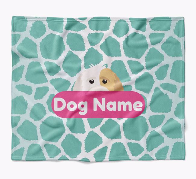 Personalized Giraffe Print Blanket with Labradoodle Icon