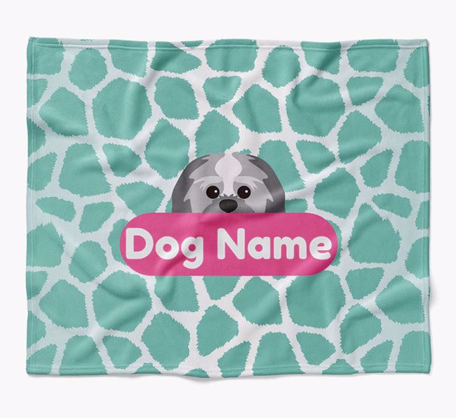 Personalized Giraffe Print Blanket with Lachon Icon