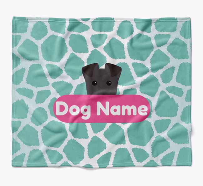 Personalized Giraffe Print Blanket with Lakeland Terrier Icon