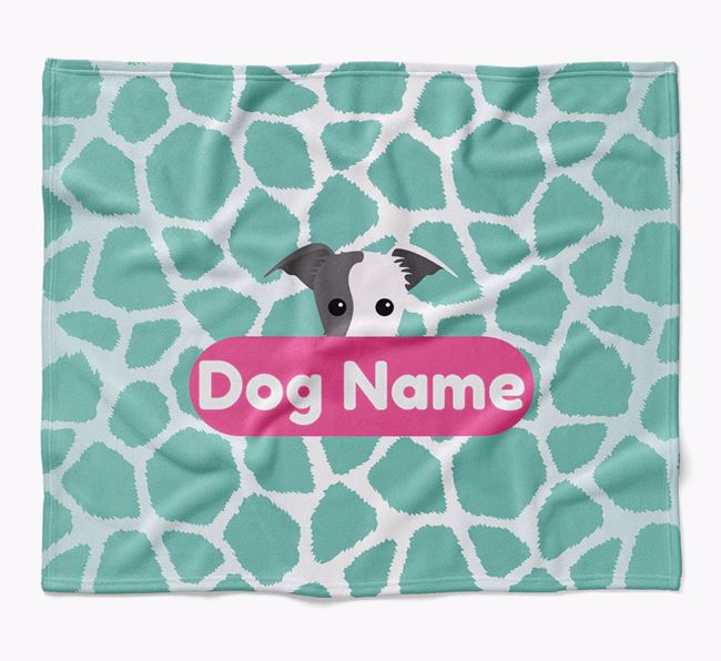 Personalized Giraffe Print Blanket with Lurcher Icon
