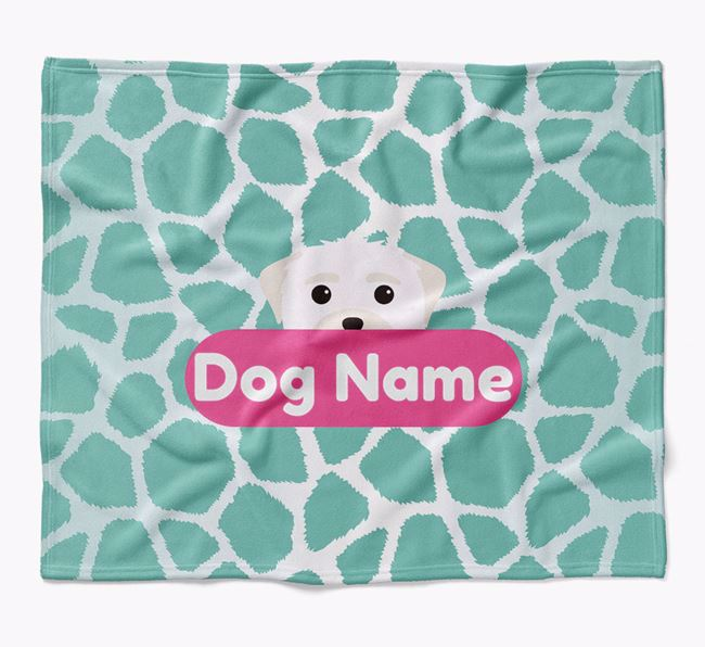 Personalized Giraffe Print Blanket with Maltese Icon