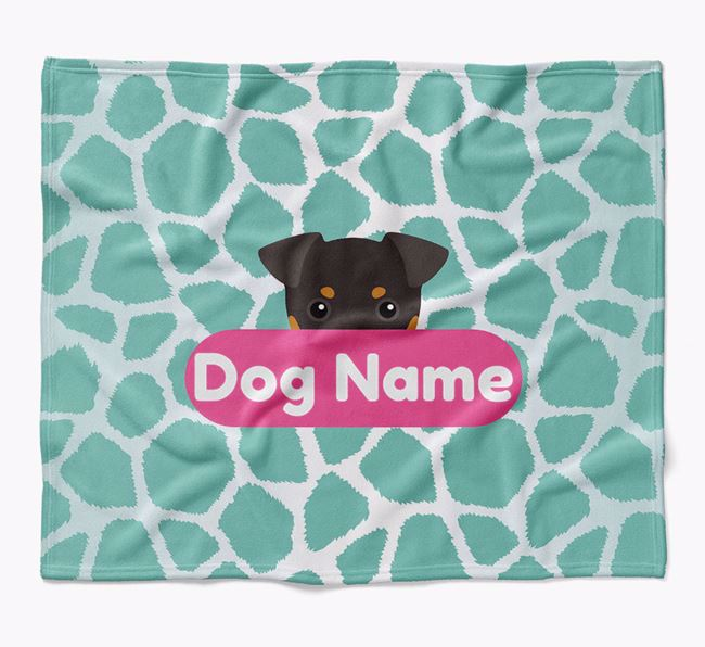 Personalized Giraffe Print Blanket with Dog Icon