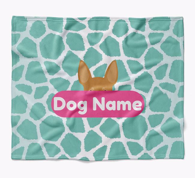 Personalized Giraffe Print Blanket with Miniature Pinscher Icon