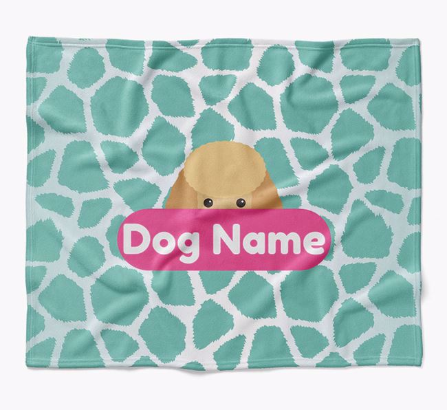 Personalized Giraffe Print Blanket with Miniature Poodle Icon