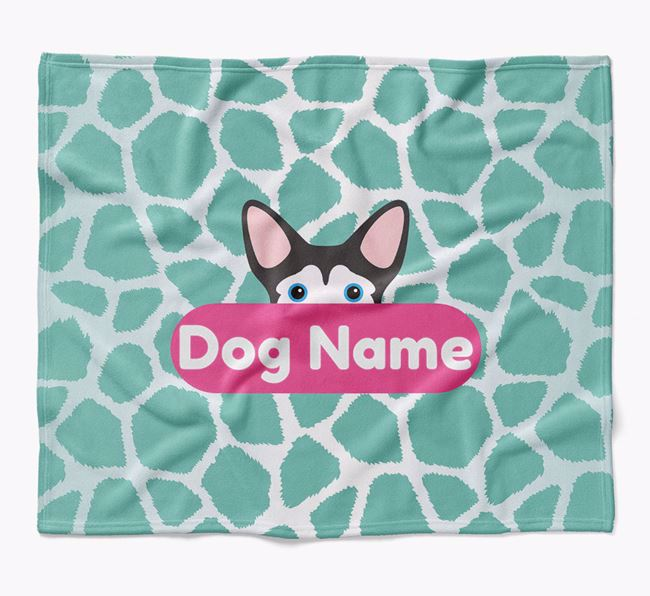 Personalized Giraffe Print Blanket with Mixed Breed Icon