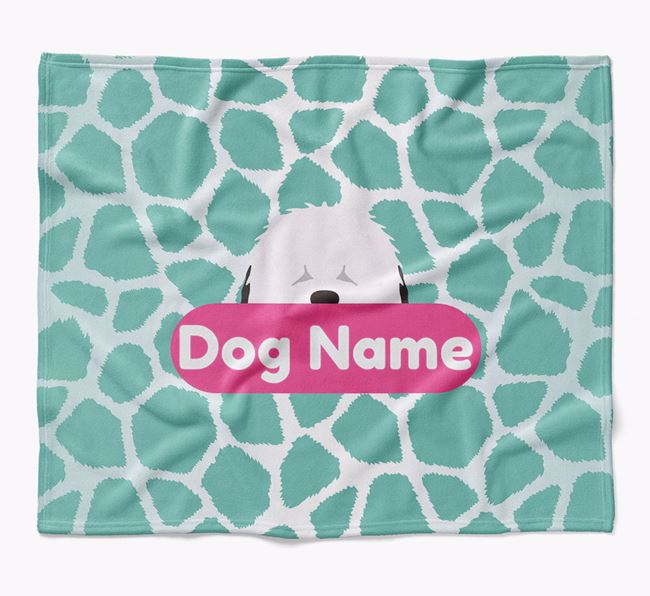 Personalized Giraffe Print Blanket with Old English Sheepdog Icon