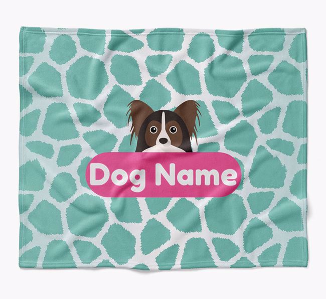 Personalized Giraffe Print Blanket with Papillon Icon