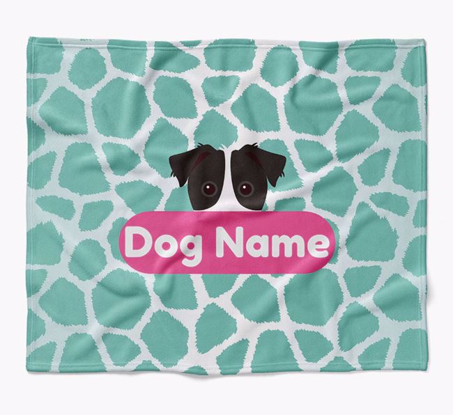 Personalized Giraffe Print Blanket with Parson Russell Terrier Icon