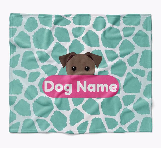 Personalized Giraffe Print Blanket with Patterdale Terrier Icon