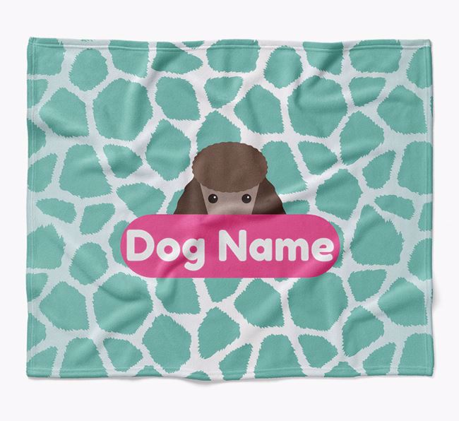 Personalized Giraffe Print Blanket with Poodle Icon