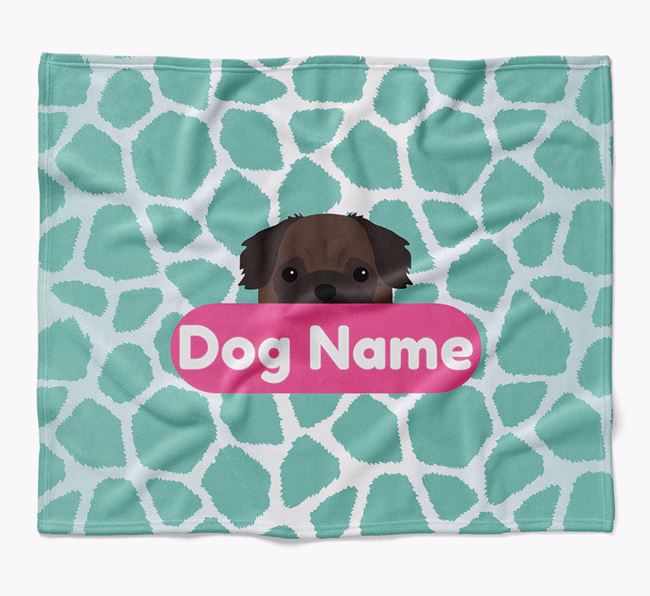 Personalized Giraffe Print Blanket with Pug Icon