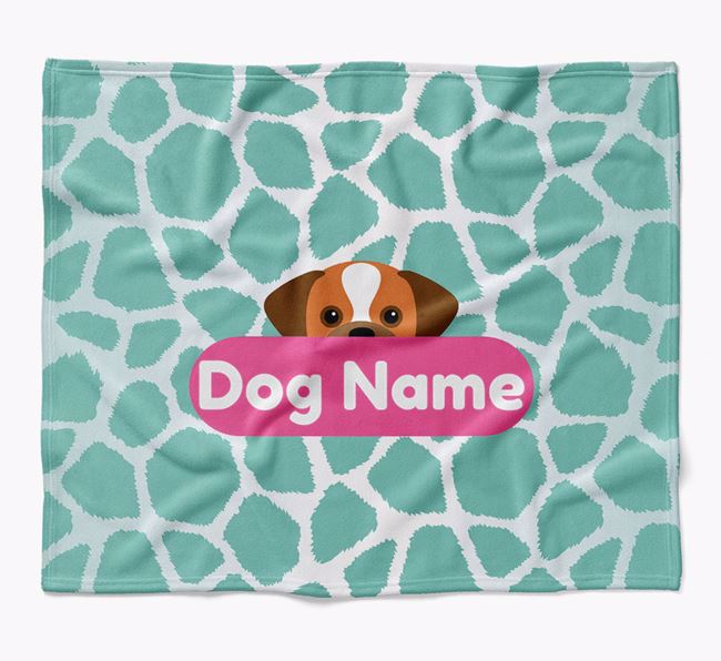 Personalized Giraffe Print Blanket with Puggle Icon