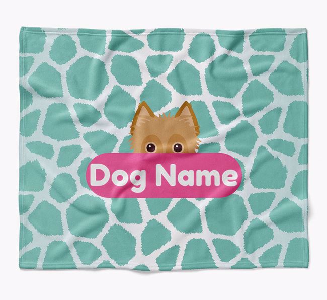 Personalized Giraffe Print Blanket with Rescue Dog Icon