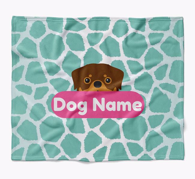 Personalized Giraffe Print Blanket with Rottweiler Icon