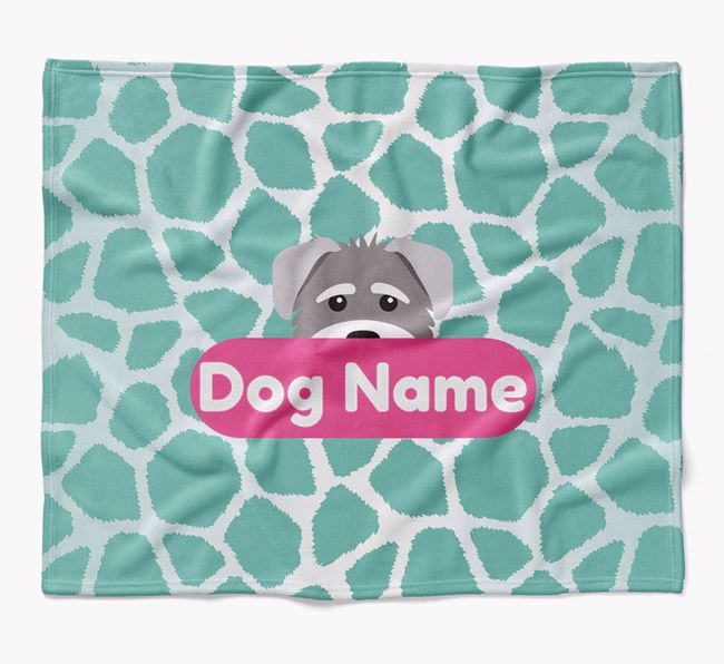 Personalized Giraffe Print Blanket with Schnoodle Icon