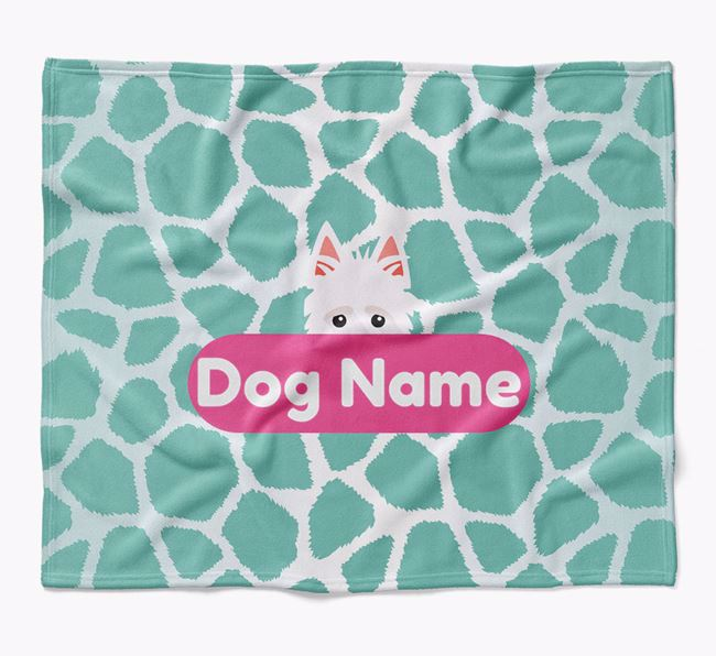 Personalized Giraffe Print Blanket with Scottish Terrier Icon