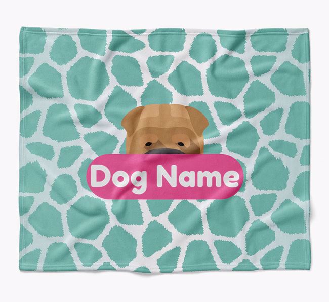 Personalized Giraffe Print Blanket with Shar Pei Icon