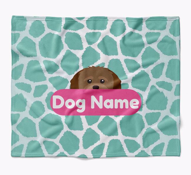 Personalized Giraffe Print Blanket with Shih-poo Icon