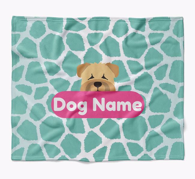 Personalized Giraffe Print Blanket with Soft Coated Wheaten Terrier Icon