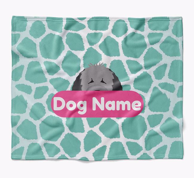 Personalized Giraffe Print Blanket with Spanish Water Dog Icon
