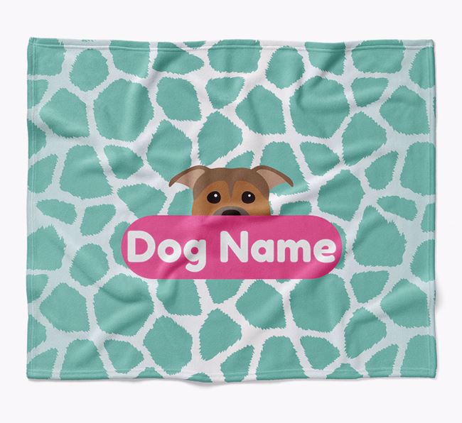 Personalized Giraffe Print Blanket with Staffordshire Bull Terrier Icon
