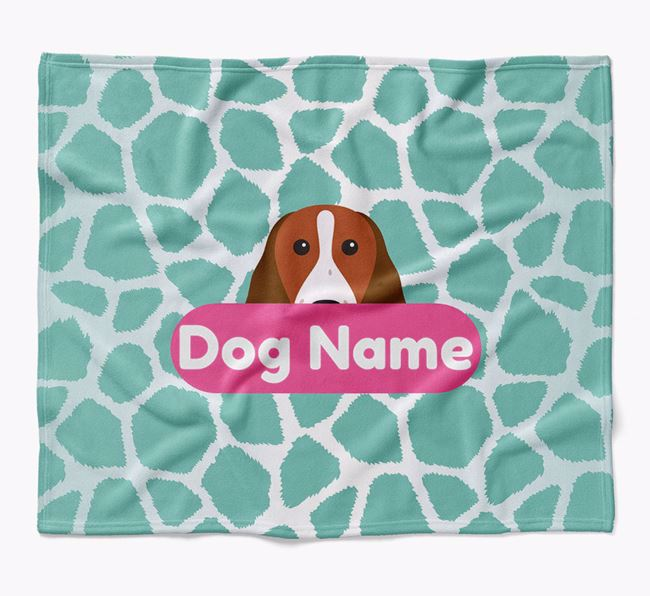 Personalized Giraffe Print Blanket with Welsh Springer Spaniel Icon