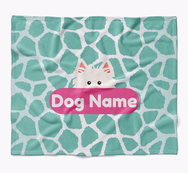 Personalized Giraffe Print Blanket with West Highland White Terrier Icon