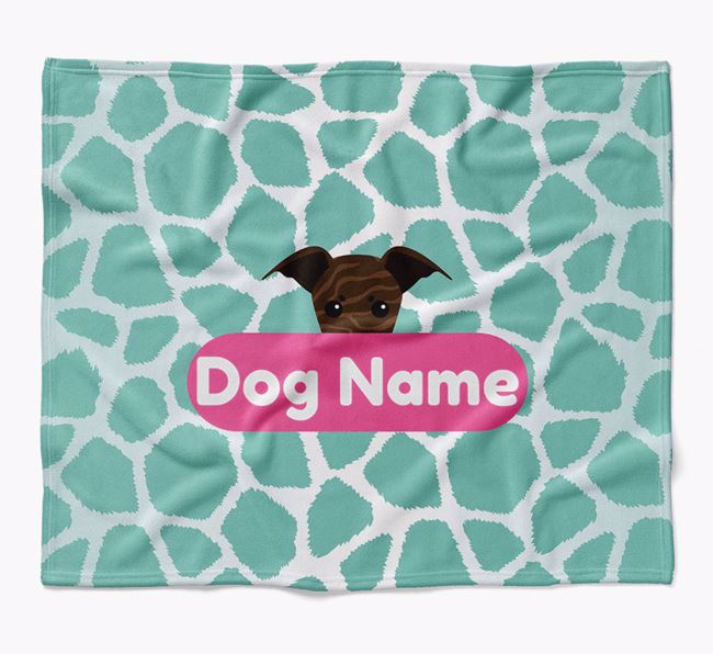 Personalized Giraffe Print Blanket with Whippet Icon