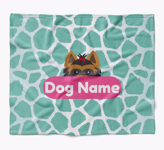 Personalized Giraffe Print Blanket with Yorkshire Terrier Icon