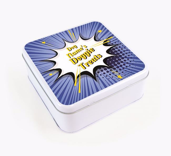 Comic Bang Square Tin for your Greyhound's Treats