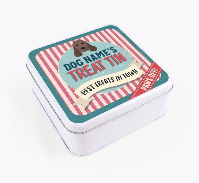 'Best Treats in Town' Square Tin for your American Cocker Spaniel