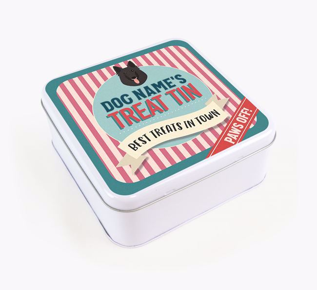 'Best Treats in Town' Square Tin for your Belgian Shepherd