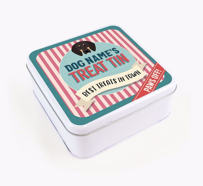 'Best Treats in Town' Square Tin for your Black and Tan Coonhound