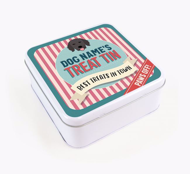 'Best Treats in Town' Square Tin for your Flat-Coated Retriever