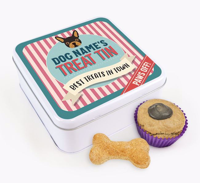 'Best Treats in Town' Square Tin for your French Bulldog