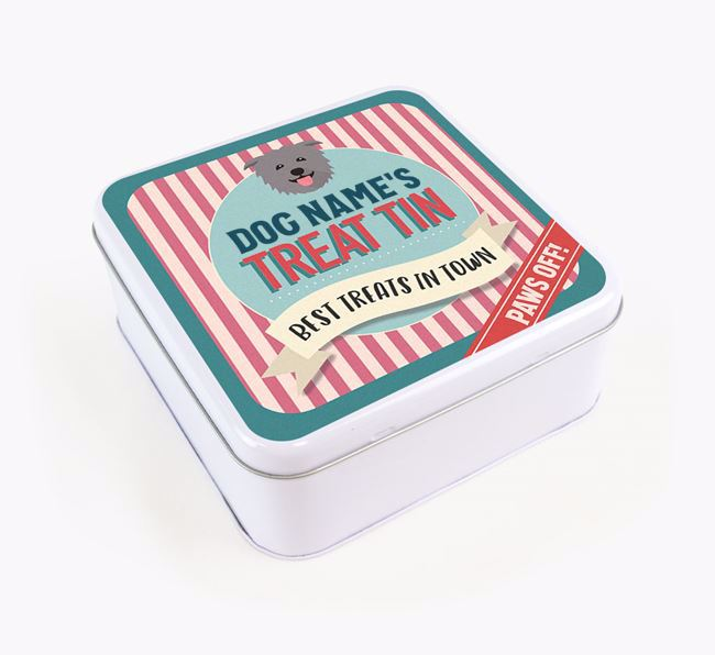 'Best Treats in Town' Square Tin for your Glen Of Imaal Terrier