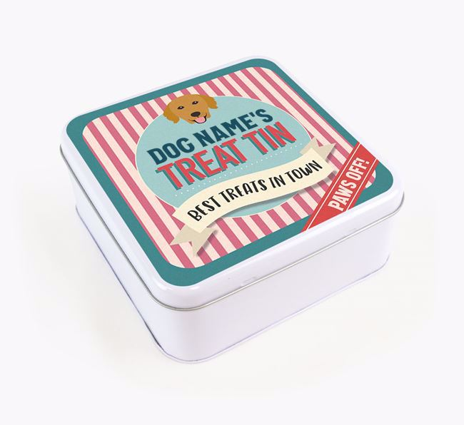 'Best Treats in Town' Square Tin for your Golden Retriever