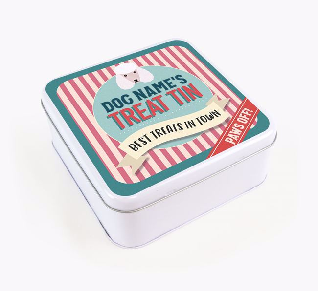 'Best Treats in Town' Square Tin for your Poodle