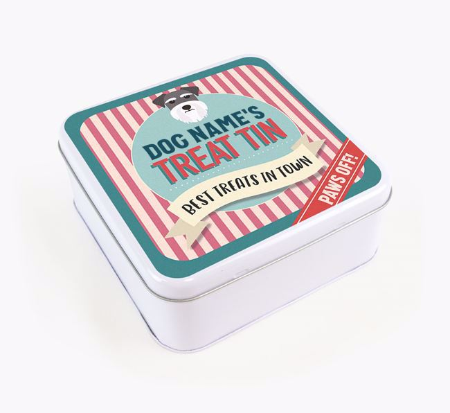 'Best Treats in Town' Square Tin for your Schnauzer
