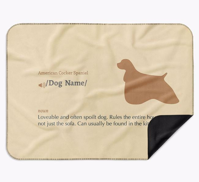 Personalised Definition Blanket with American Cocker Spaniel Silhouette